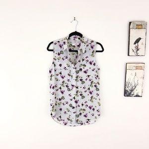 EQUIPMENT Slim Signature Floral Silk Button Up Top